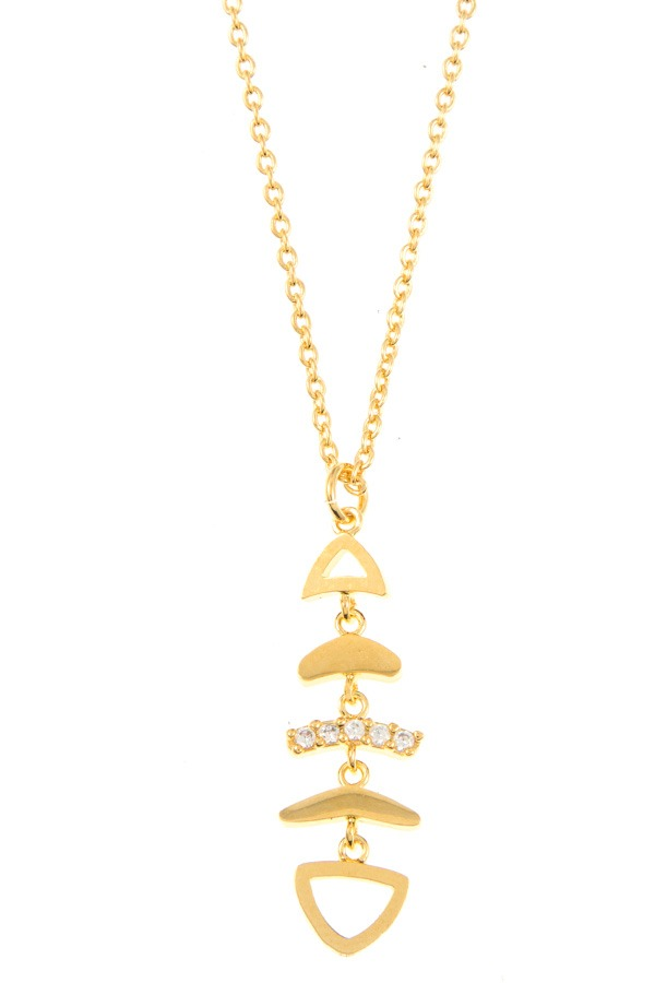 Fish bone pendant necklace-SamiraBoutique