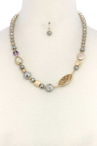 Oval Stone Beaded Necklace-SamiraBoutique