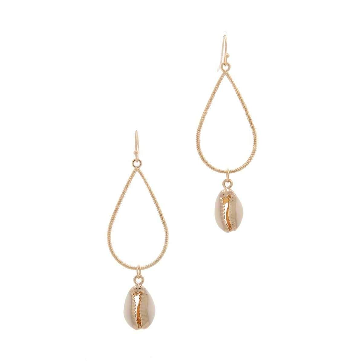 Cowrie Seashell Charm Teardrop Shape Earring-SamiraBoutique