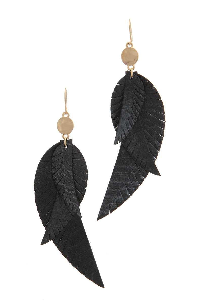Genuine Leather Drop Earring-SamiraBoutique