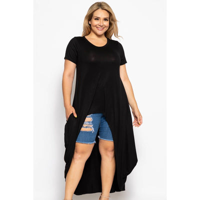 Crew Neck Line Short Sleeves Casual High Low Top-SamiraBoutique
