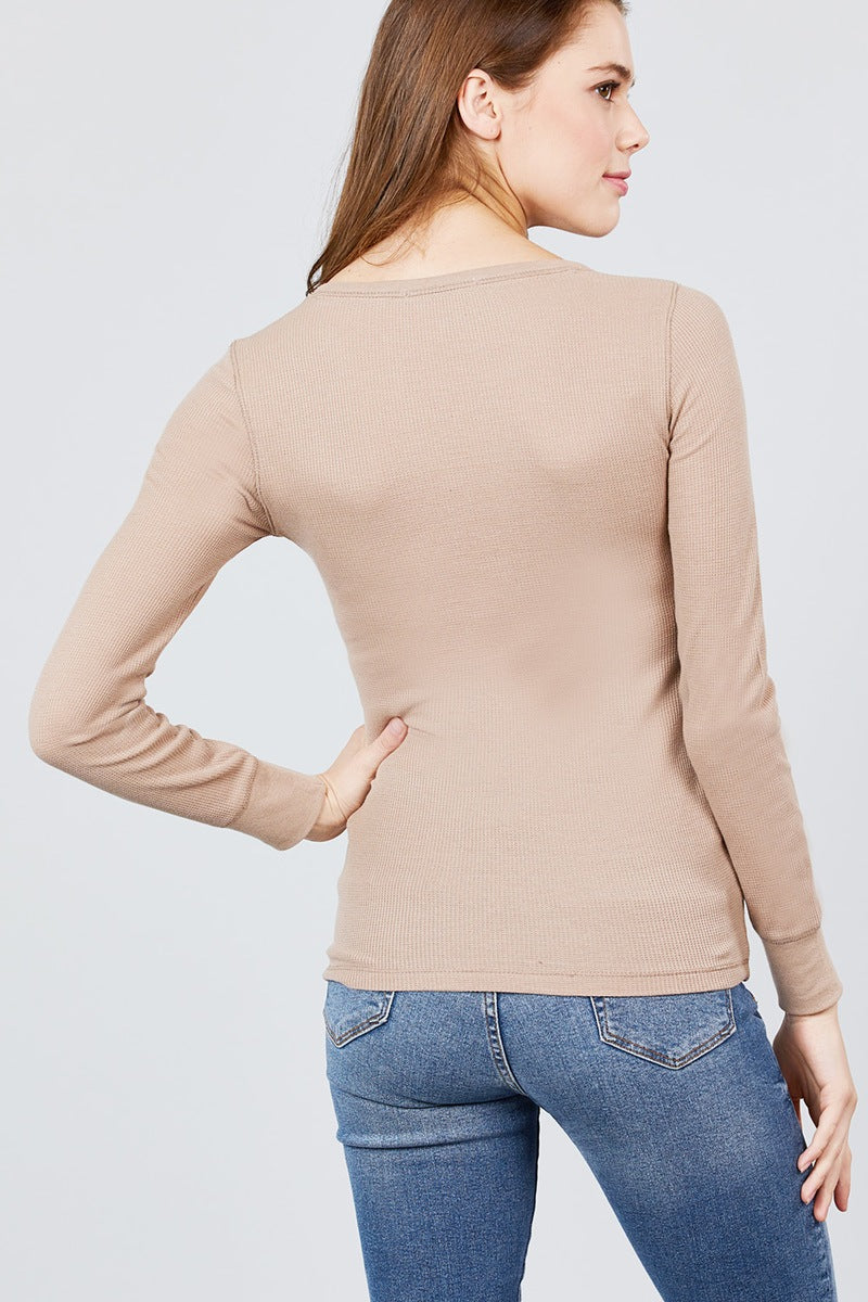 Long Sleeve Crew Neck Thermal Top-SamiraBoutique