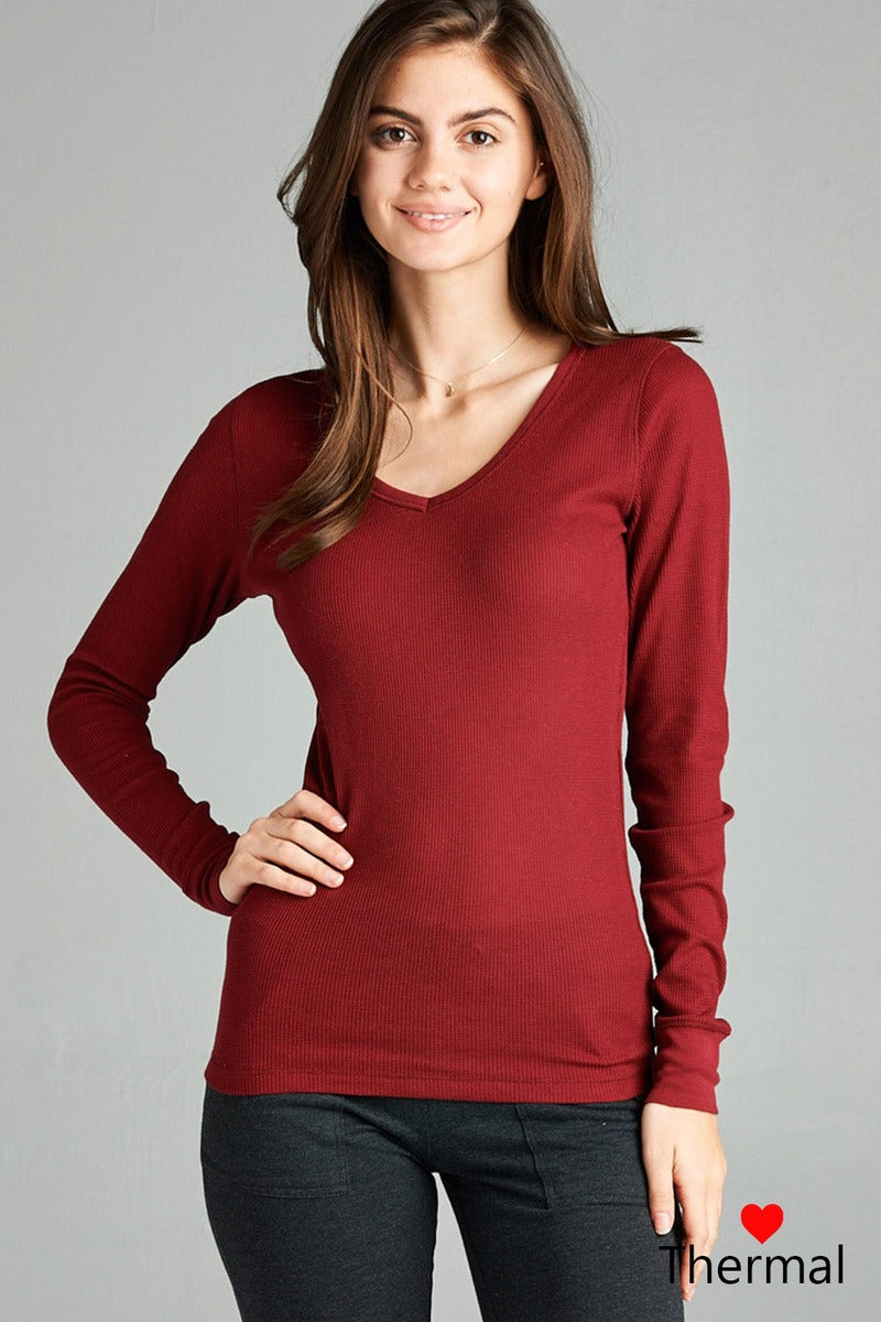 Long Sleeve V-neck Thermal Top-SamiraBoutique