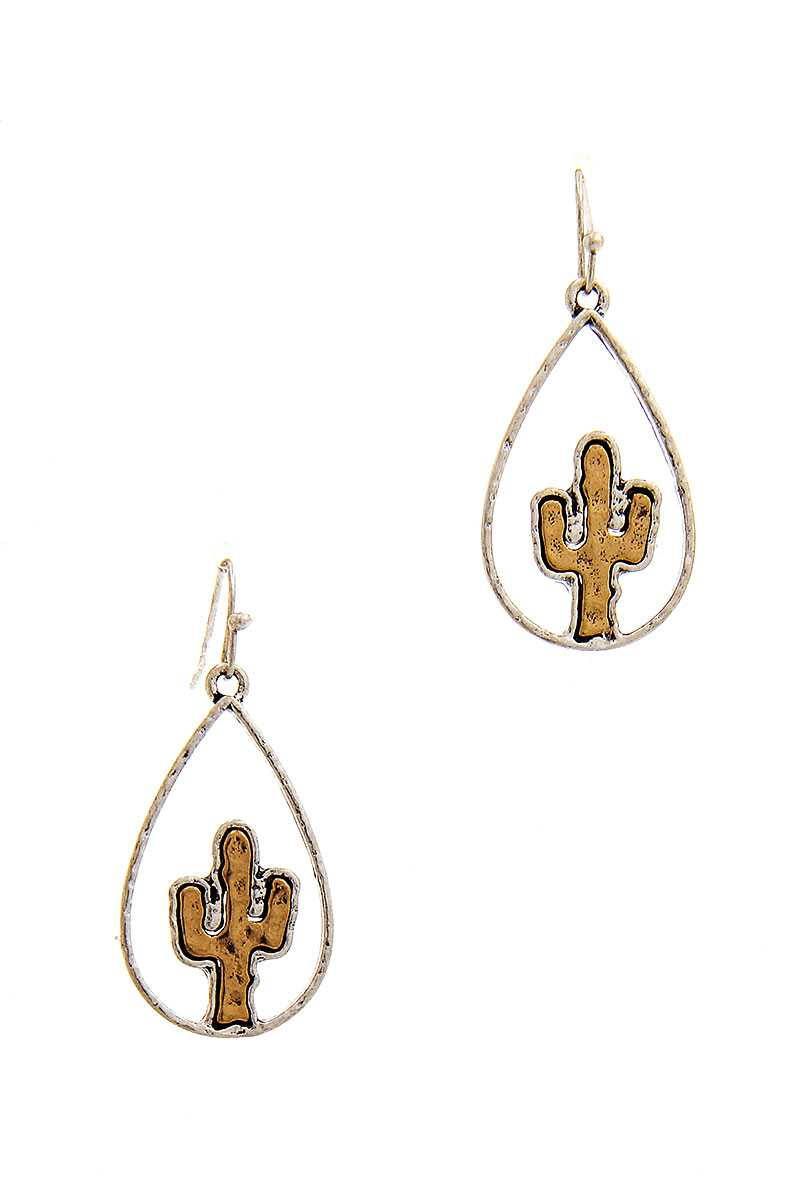 Two Tone Tear Drop Out Lined Cactus Dangle Earring-SamiraBoutique