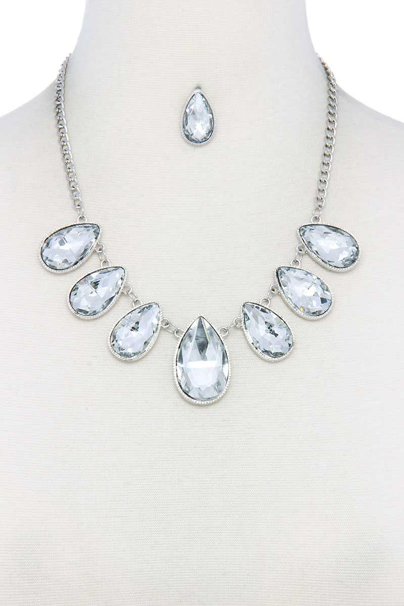 Teardrop Shape Rhinestone Necklace-SamiraBoutique