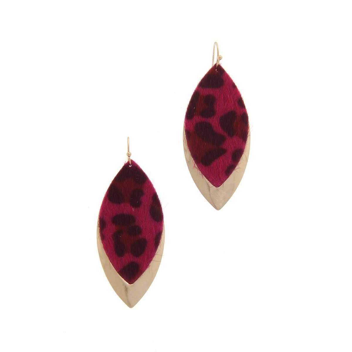 Animal Print Metal Pointed Oval Drop Earring-SamiraBoutique
