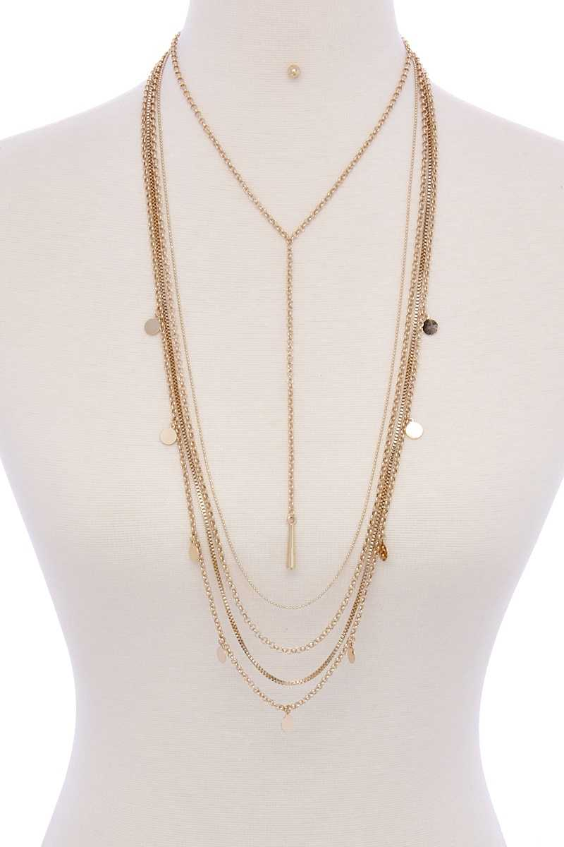 Metal Multi Chain Necklace-SamiraBoutique