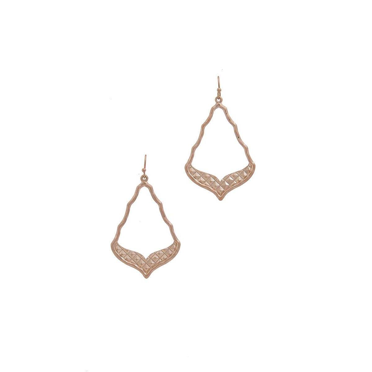 Cutout Moroccan Shaped Metal Drop Earring-SamiraBoutique
