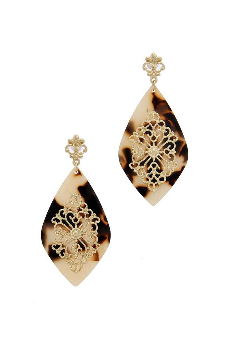 Teardrop Moroccan Pattern Earring-SamiraBoutique
