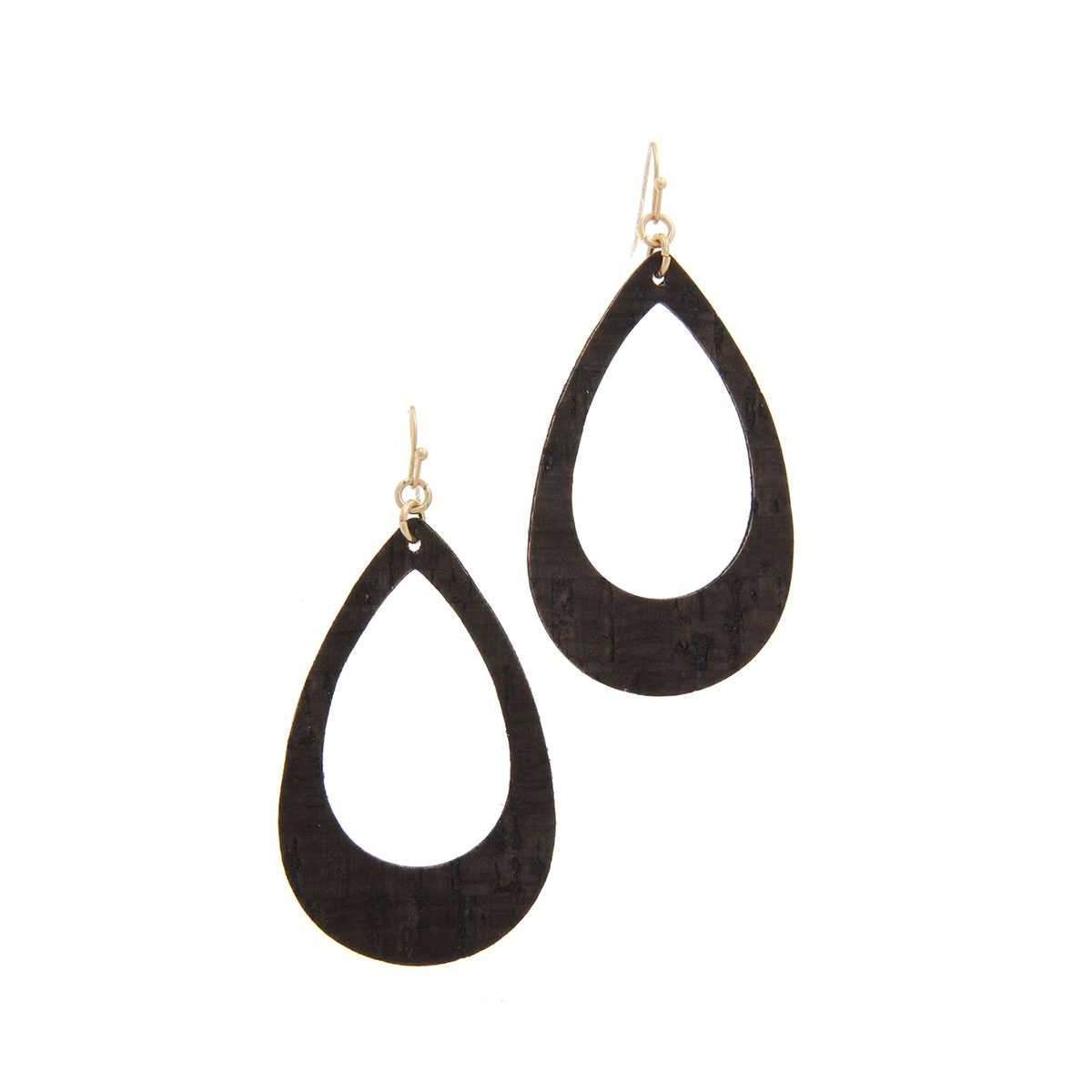 Cut Out Cork Teardrop Shape Drop Earring-SamiraBoutique