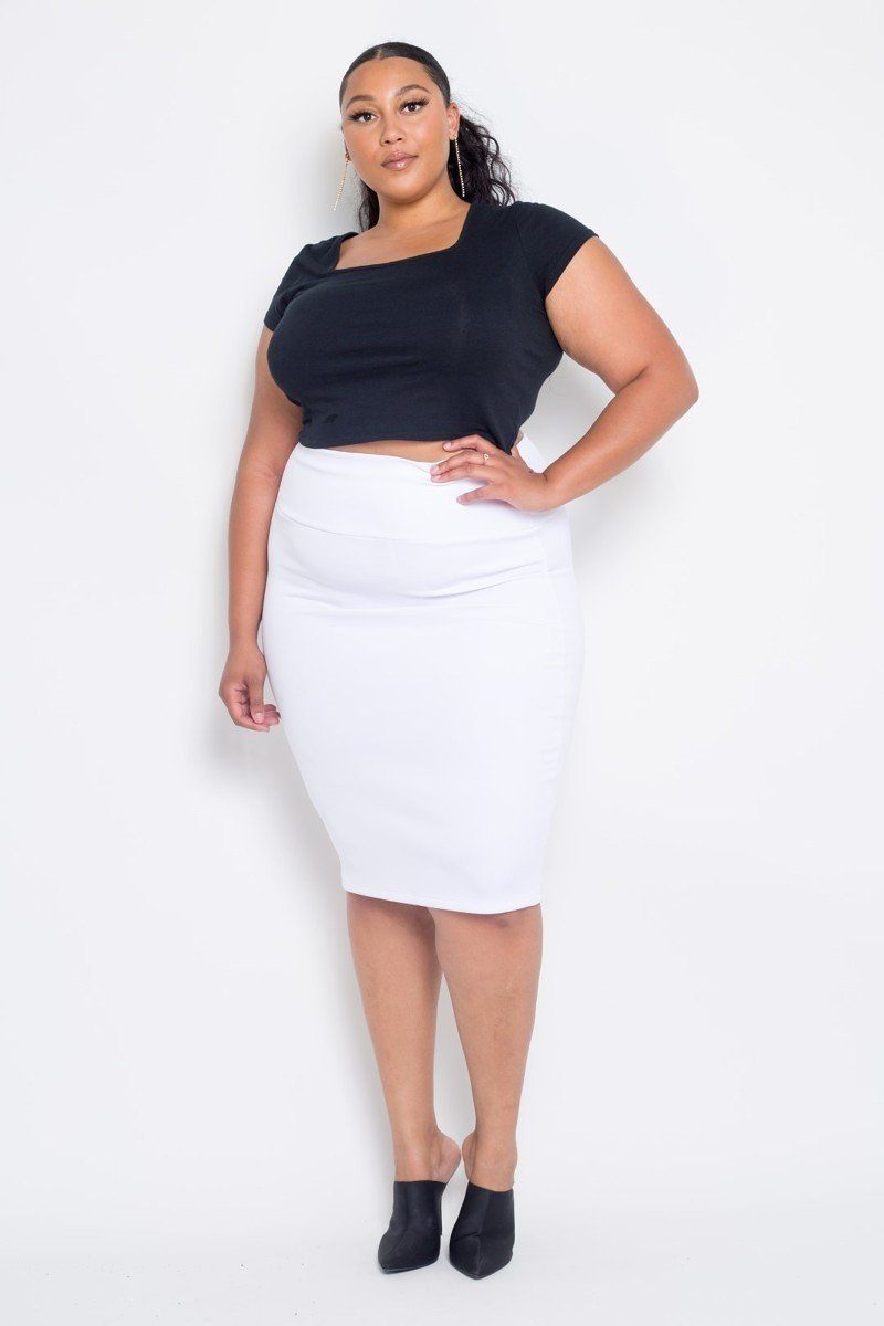 Plus Size Everyday Basic High Waist Pencil Midi Skirt-SamiraBoutique