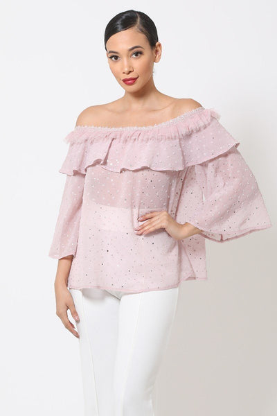 Polka Dot Sheer Off Shoulder Top - SamiraBoutique