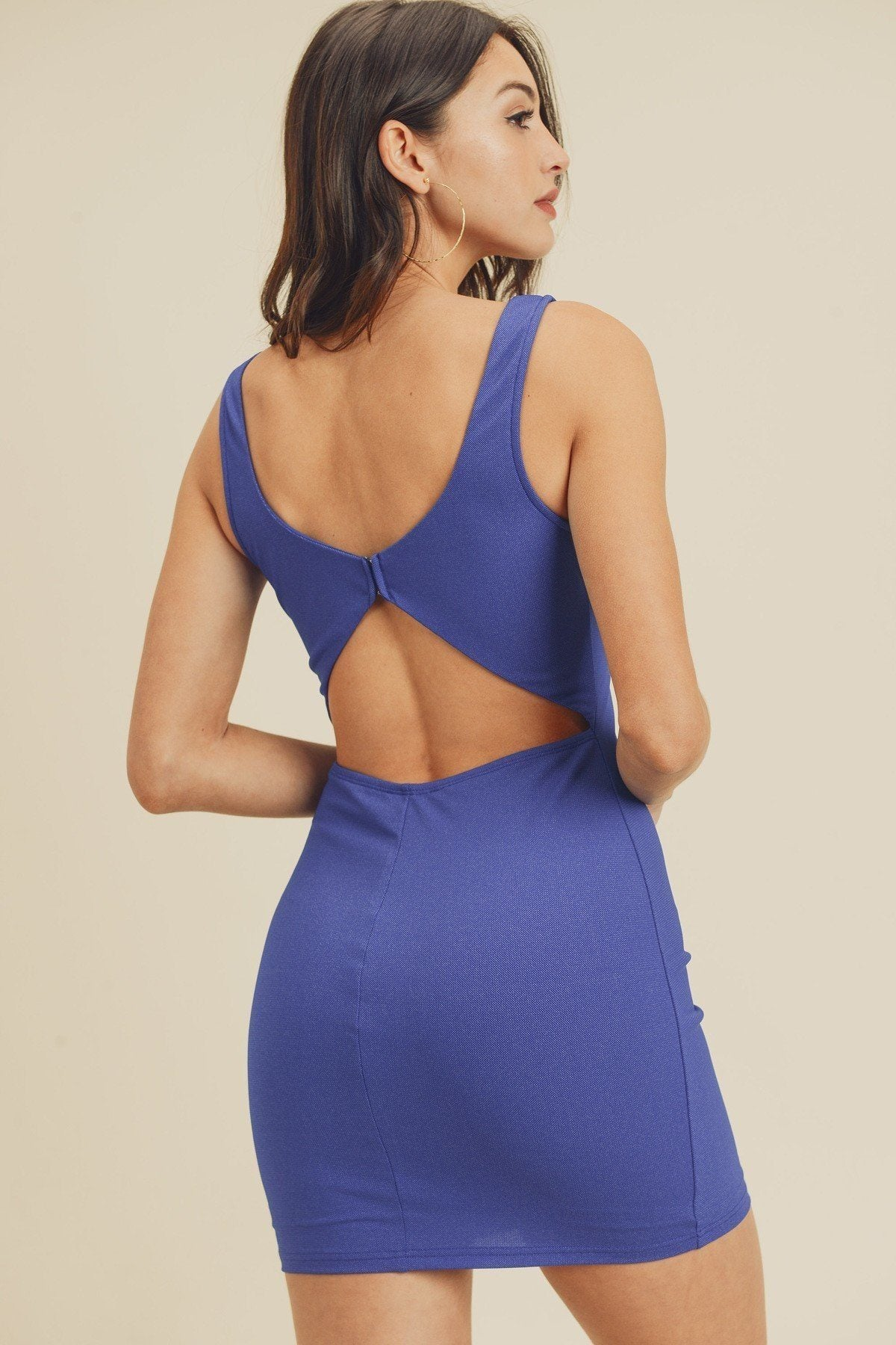Open Back Plunging V-neck Bodycon Dress-SamiraBoutique