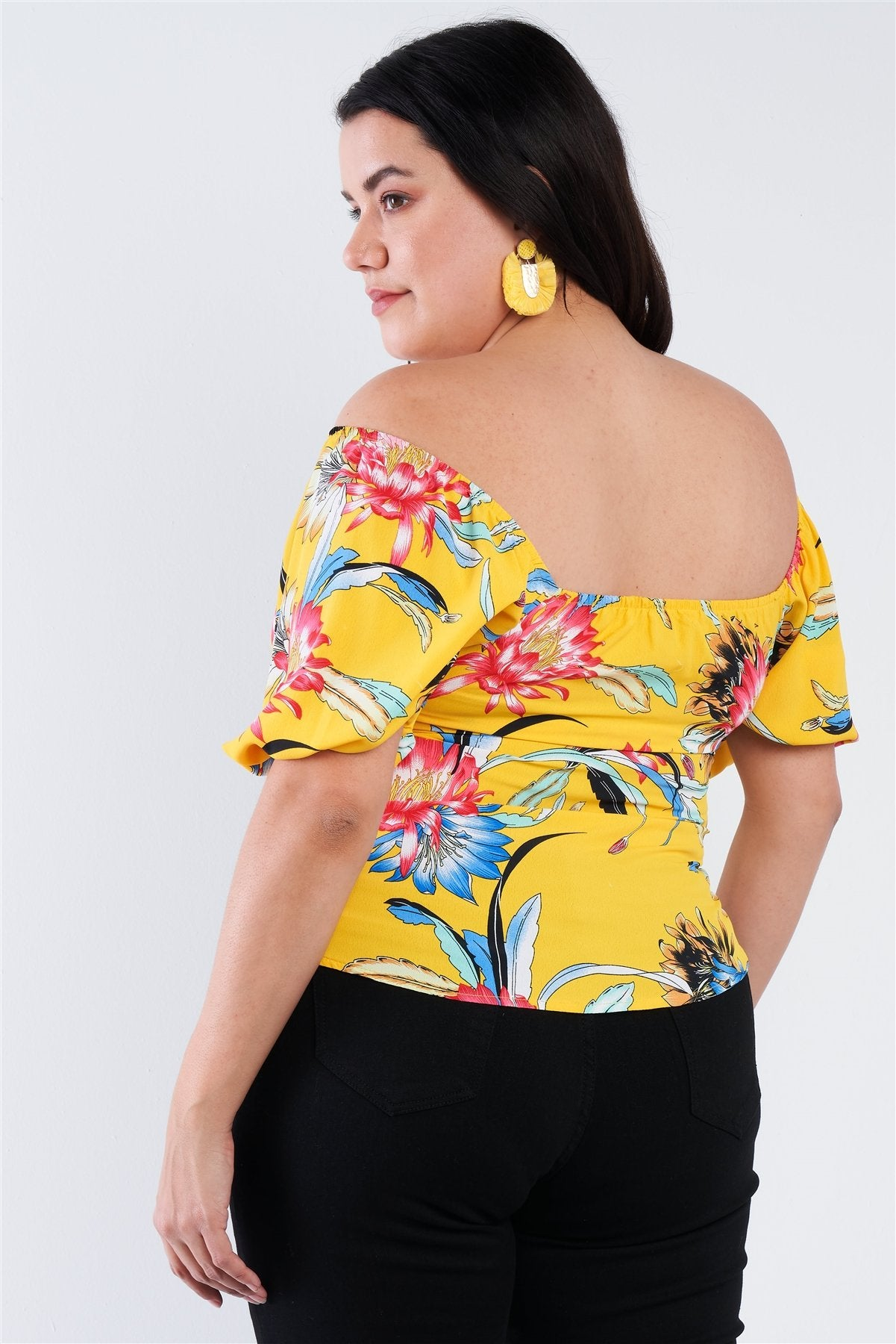 Plus Size Multi Tropical Floral Puff Sleeve Top-SamiraBoutique