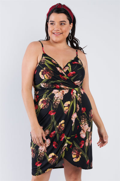 Plus Size Floral Surplice Tulip Mini Dress-SamiraBoutique