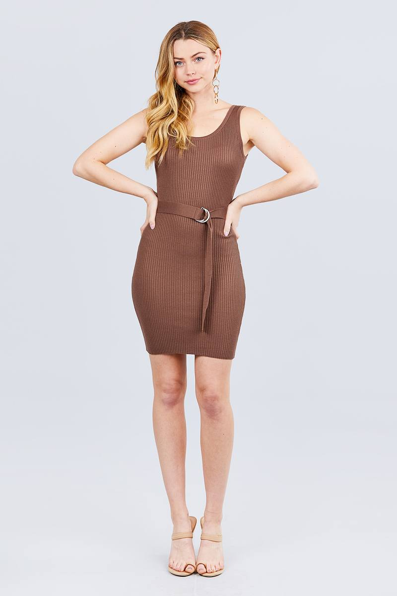Sleeveless Double Scoop Neck W/belt Rib Sweater Mini Dress-SamiraBoutique
