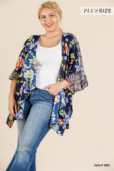 Floral Mixed Print Ruffle Bell Sleeve Open Front Kimono With Side Slits-SamiraBoutique