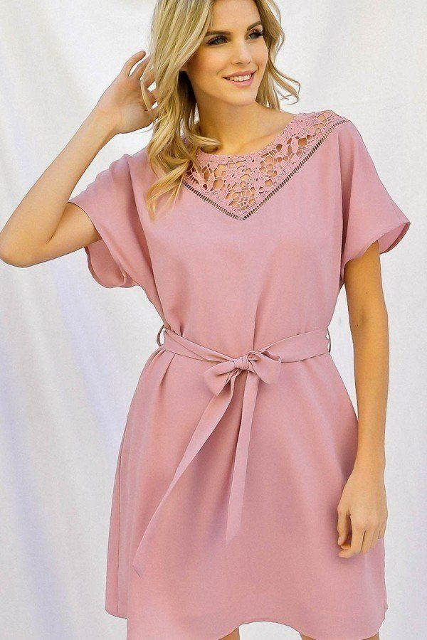 Solid With Crochet Detail Waist Tie Dolman Sleeve Dress-SamiraBoutique