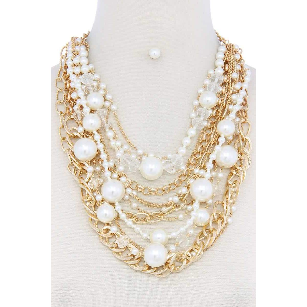 Chunky Pearl Metal Layered Necklace-SamiraBoutique