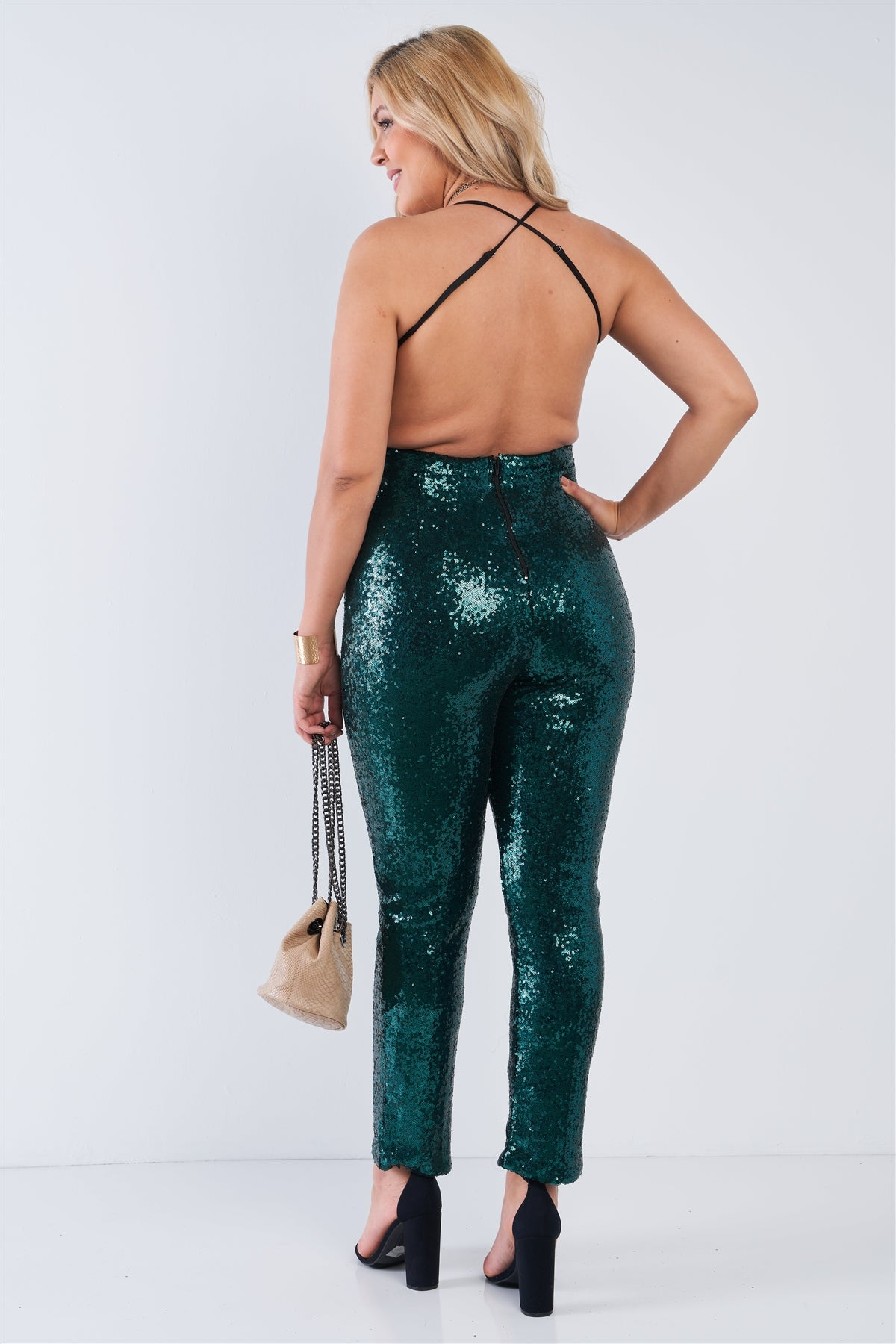 Plus Size Sequin V-neck Criss Cross Open Back Bodycon Jumpsuit-SamiraBoutique