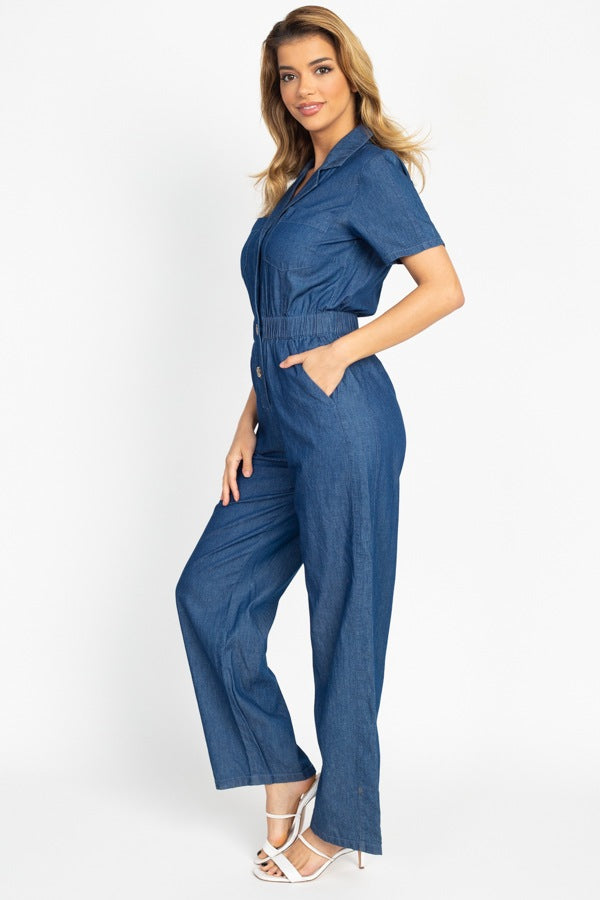 Button Front Elasticized Waist Jumpsuit-SamiraBoutique