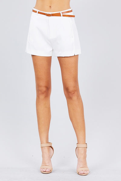 Front Slit Hem W/pocket And Belt Short Pants-SamiraBoutique