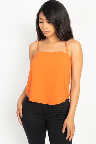 Scallop Opening Cami Top-SamiraBoutique