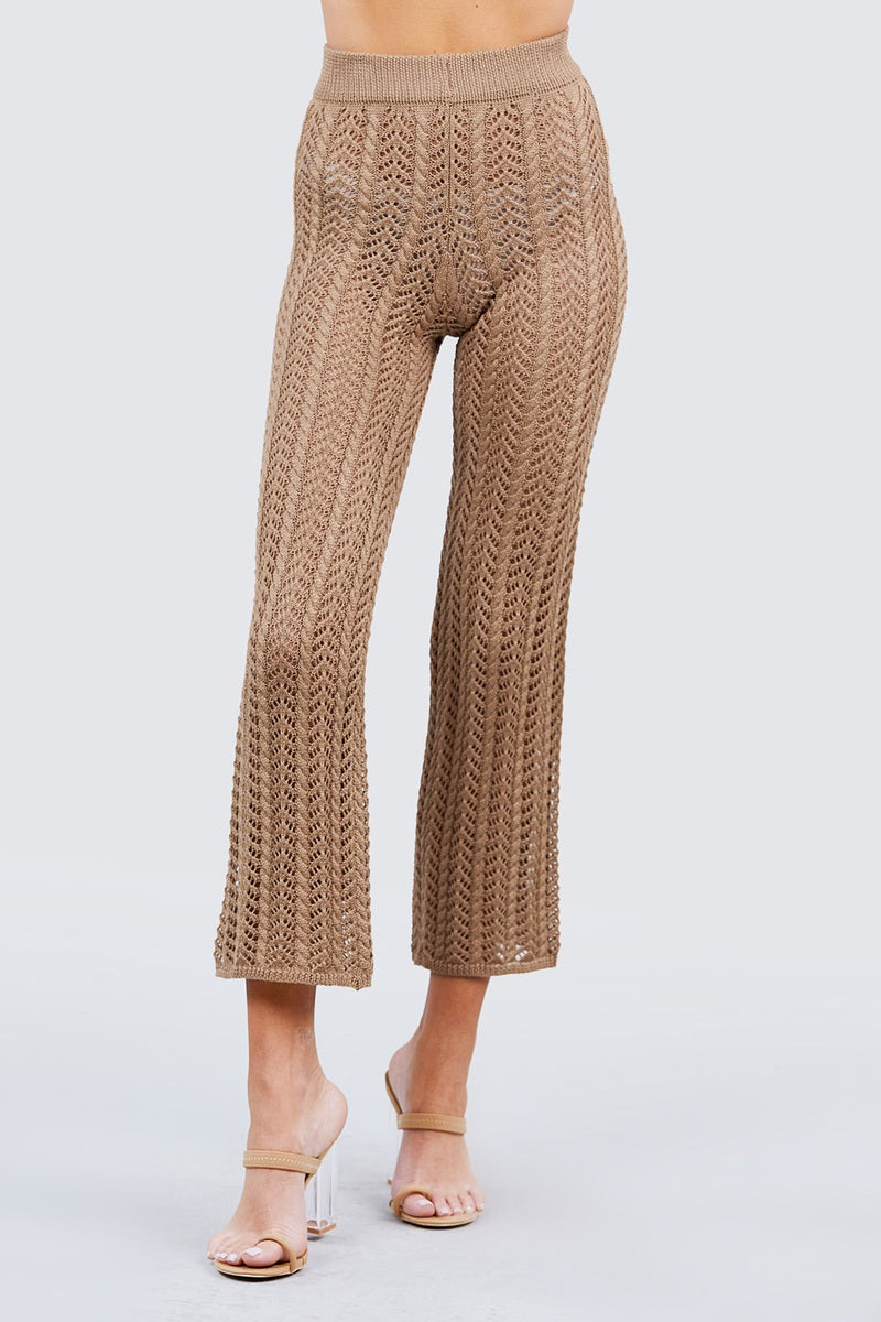 Flare Long Fishnet Sweater Pants-SamiraBoutique