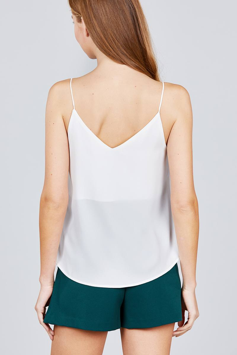 Double V-neck Cami Woven Top-SamiraBoutique