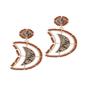 Beaded Snake Pattern Post Drop Earring-SamiraBoutique