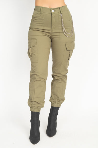 Chain Cargo Twill Jogger Pants-SamiraBoutique