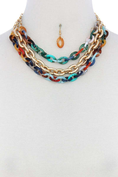Triple Layer Multi Color Thick Chain Necklace And Earring Set-SamiraBoutique