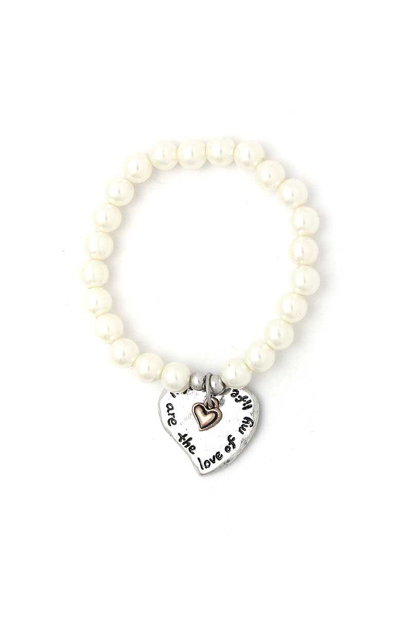 You Are The Love Of My Life Heart Beaded Bracelet-SamiraBoutique