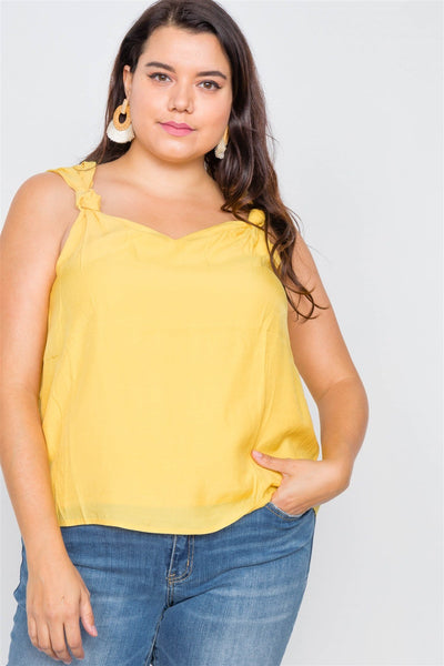 Canary Yellow V-neck Gathered Shoulder Casual Top-SamiraBoutique