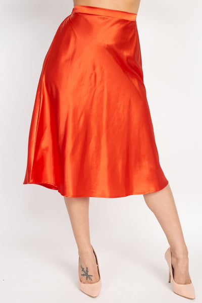 A-line Satin Midi Skirt-SamiraBoutique