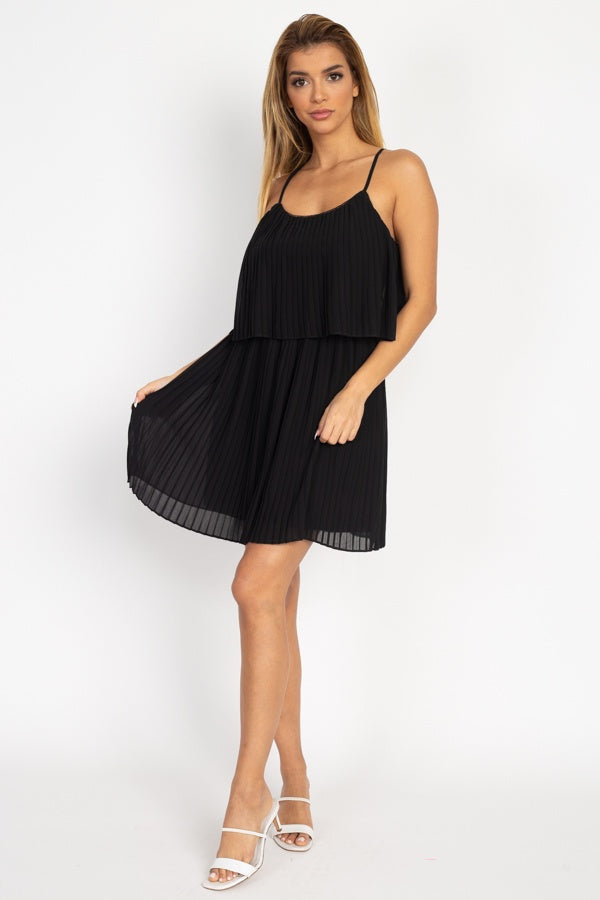 Accordion Pleated Mini Dress-clothing-SamiraBoutique