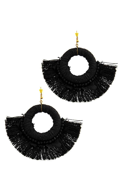 Stylish Feather And Fan Tassel Earring-SamiraBoutique