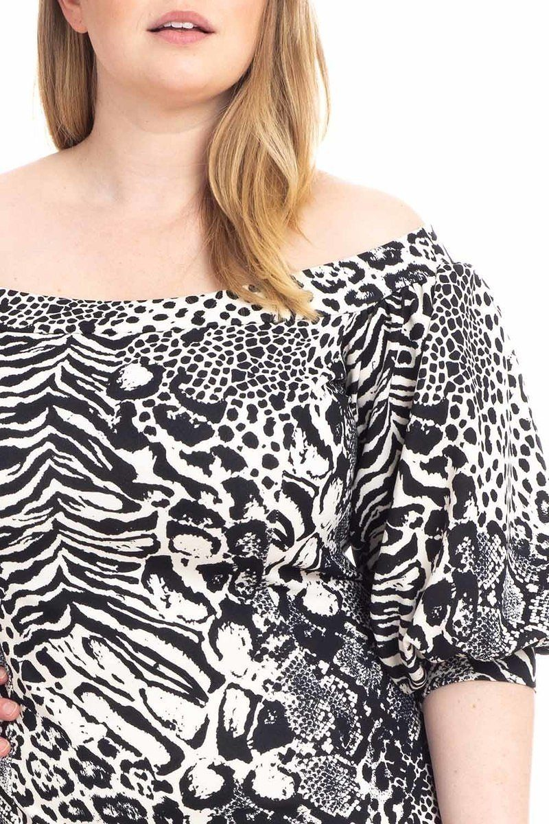 Plus Size Animal Print Crepe Stretch Bodycon Dress-clothing-SamiraBoutique