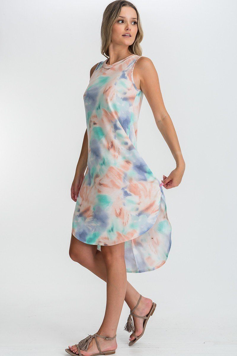 Tie Dye Hi-low Midi Dress-SamiraBoutique