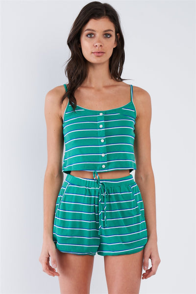 Green Blue & White Stripe Mock Front Button Crop & Casual Mini Short Loungewear Set-clothing-SamiraBoutique