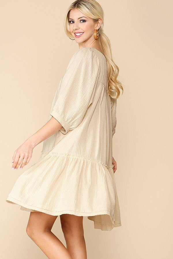 3/4 Sleeve Pocket Ruffle Pintuck Swing Dress-clothing-SamiraBoutique