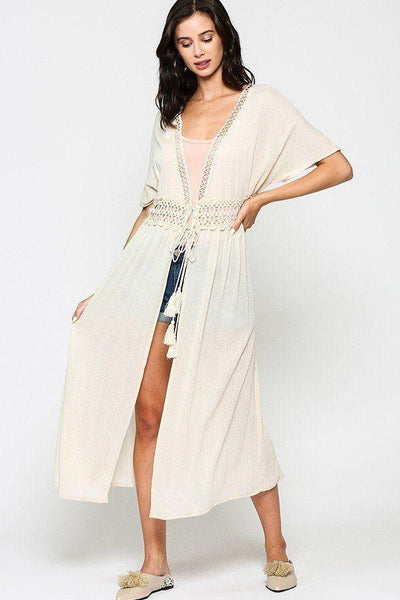 Lace Trim Open Front Tassel Waist Tie Duster Cardigan-clothing-SamiraBoutique