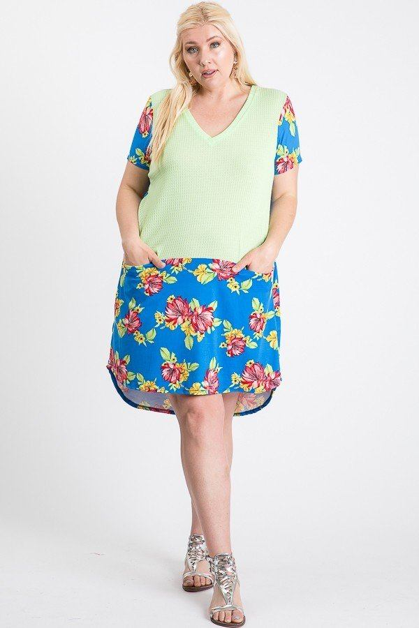 Short Sleeve Floral Blocked Midi Dress With Front Pocket-clothing-SamiraBoutique