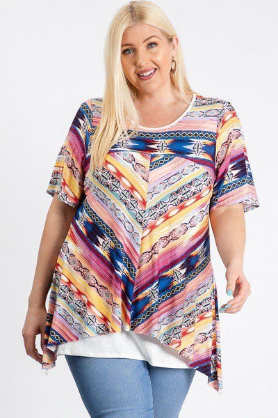 Short Sleeve Aztec Patterned Layered Top-clothing-SamiraBoutique