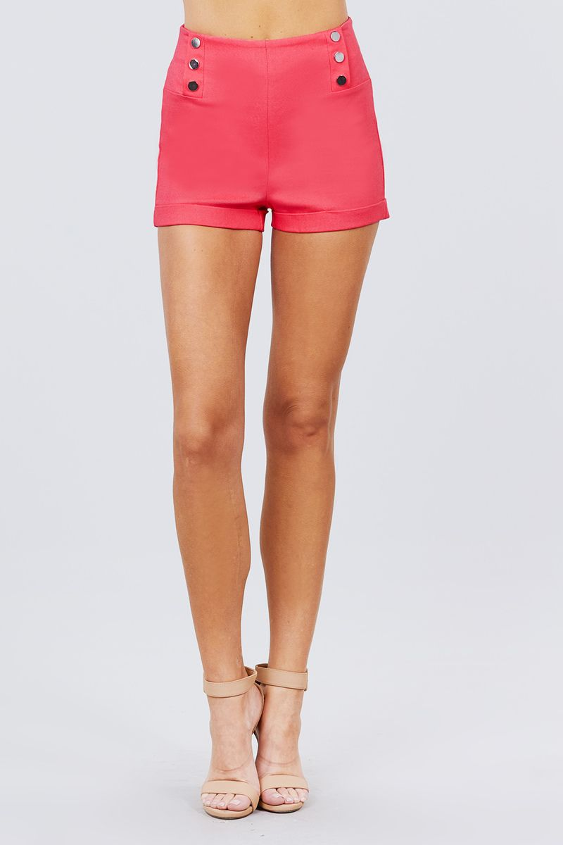 High Waist Button Detail Rolled Up Woven Short Pants-SamiraBoutique