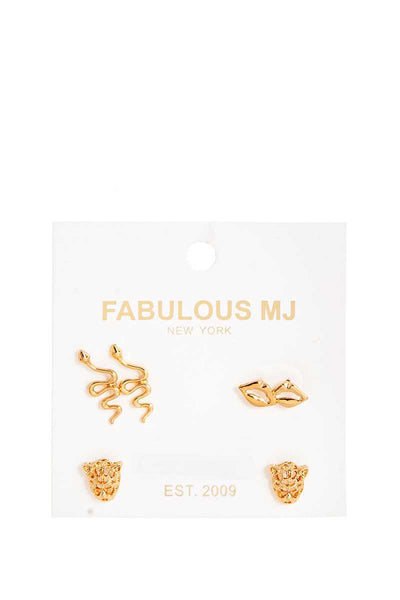 Chic Fabulous 3 Pairs Stud Earring Set-SamiraBoutique