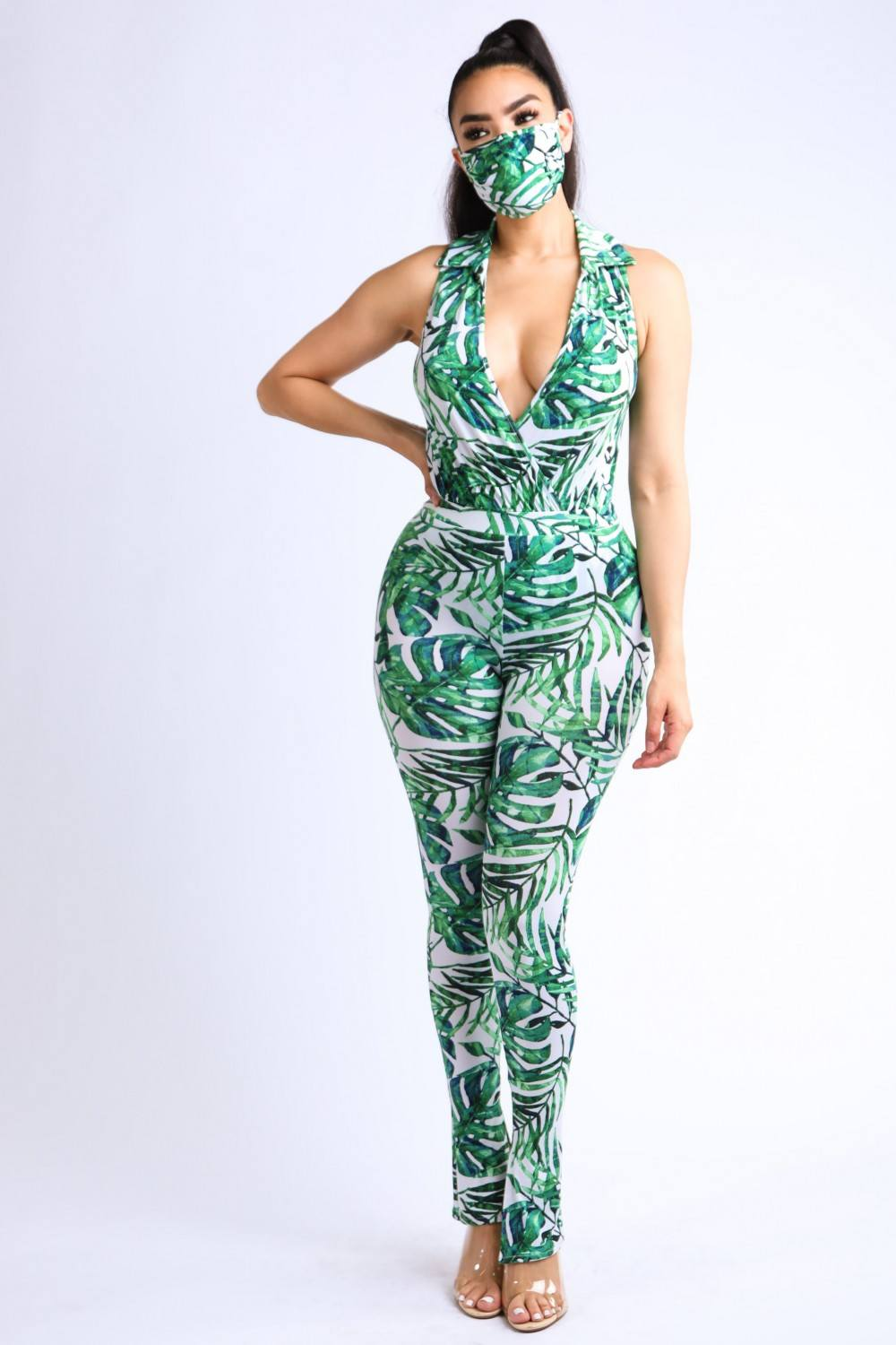 Tropical Printed Collared Bodysuit With Matching Mask-SamiraBoutique