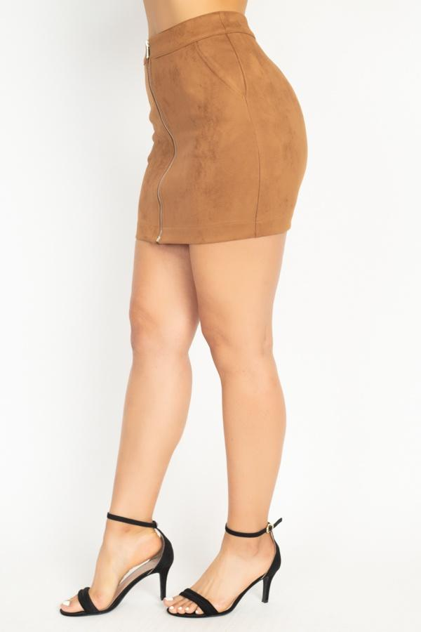 Faux Suede Front Zip Skirt-SamiraBoutique