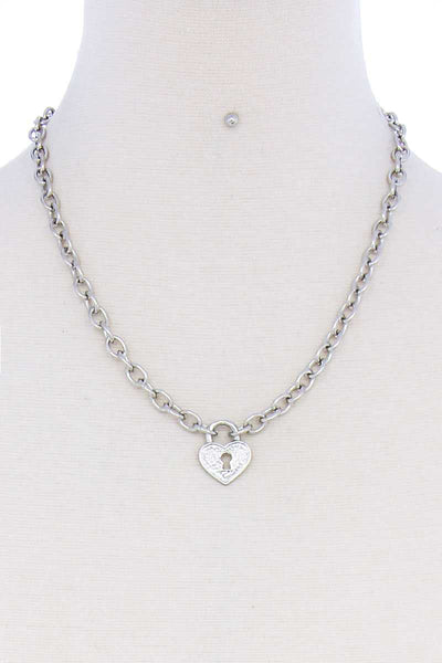 Fashion Heart Lock Chain Necklace And Earring Set-SamiraBoutique