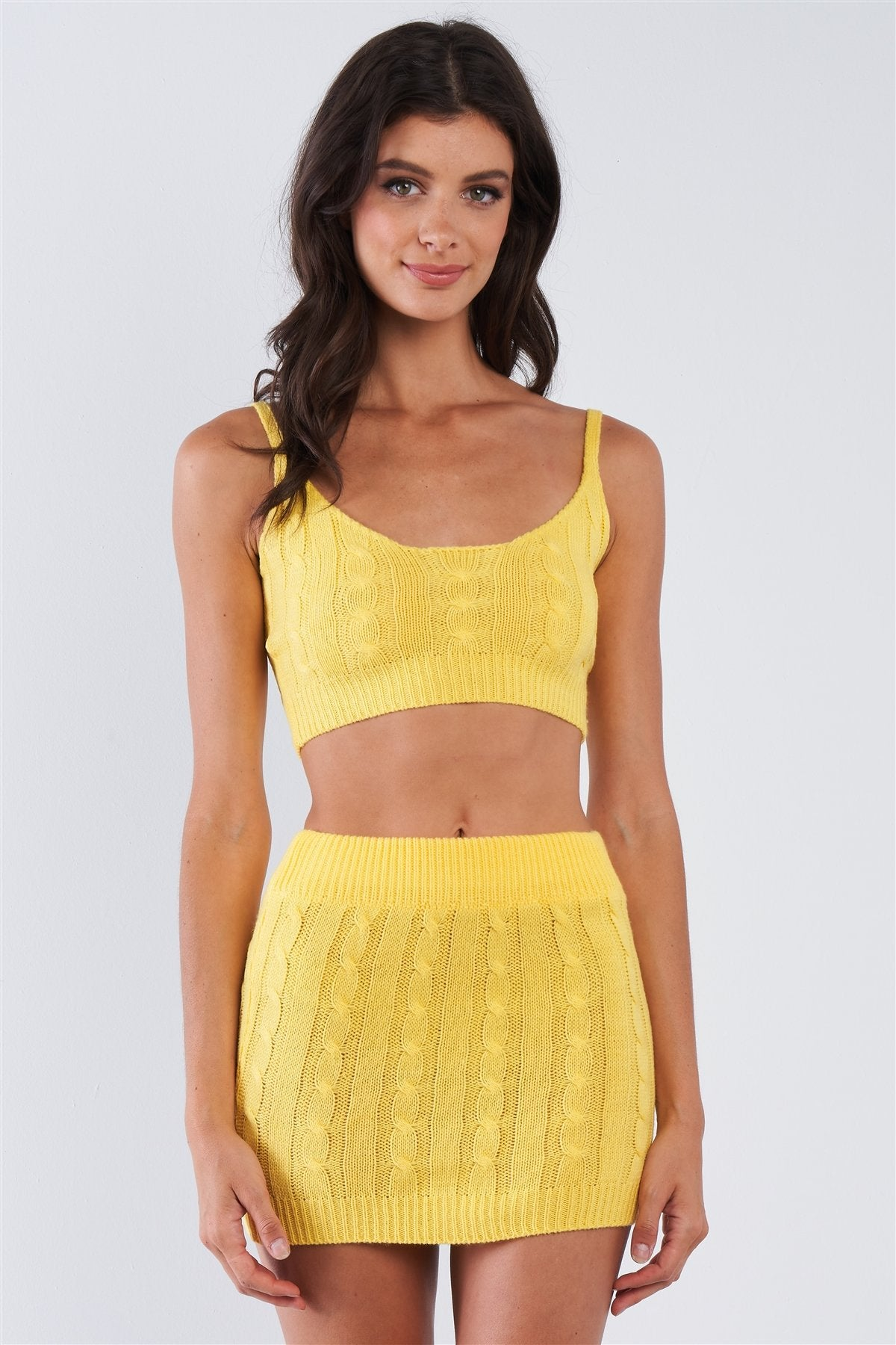 Banana Yellow Knitted Two Piece Skirt Set-clothing-SamiraBoutique